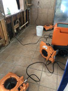 water damage job site